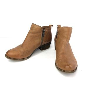 Lucky Brand Camel Zip Ankle Booties Distressed